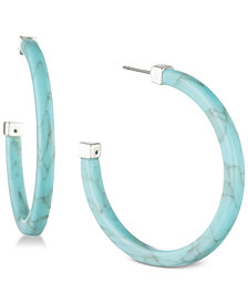Lauren Ralph Lauren Silver-Tone Colored Open Hoop Earrings