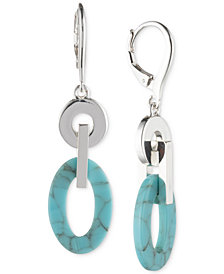 Lauren Ralph Lauren Silver-Tone & Colored Link Double Drop Earrings