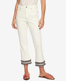 1.STATE Embroidered Fringe High-Waist Jeans