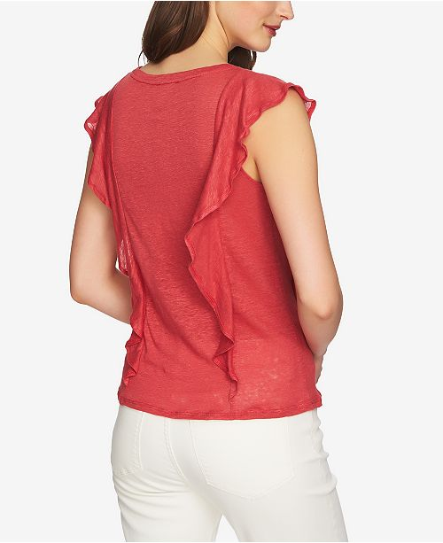 1 STATE Spice Ruffled Linen Top I4wndrwWq