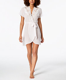 Linea Donatella Juliet Lace-Trimmed Chiffon Wrap Robe
