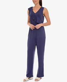 NY Collection Asymmetrical-Ruffle Sleeveless Jumpsuit