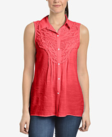 NY Collection Crochet-Trim Blouse