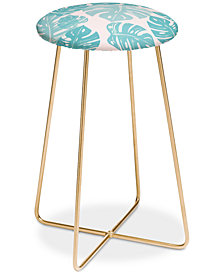 Deny Designs Bianca Green Linocut Monstera Pastel Counter Stool