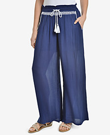 NY Collection Embroidered Tassel-Tie Palazzo Pants