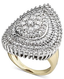 Pear Diamond Cluster Ring in 14k White Gold and 14k Gold (3 ct. t.w.)