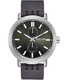 Kenneth Cole Reaction Men's Gray Synthetic Leather Strap Watch 45mm