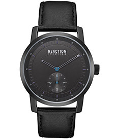Kenneth Cole Reaction Men's Black Synthetic Leather Strap Watch 42mm