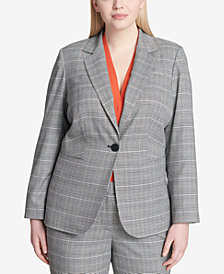 Calvin Klein Plus Size Plaid Blazer
