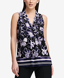 DKNY Printed Split-Neck Top, Created for Macy's
