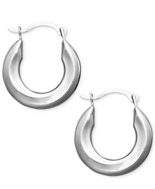 Small Polished Tube Hoop Earrings in 10k Gold and White Gold