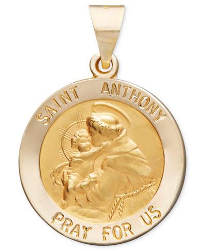 14k Gold Pendant Saint Anthony Medal