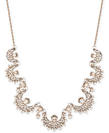 "Marchesa Gold-Tone Crystal & Imitation Pearl 26"" Slider Statement Necklace"