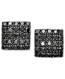 Black Diamond Square Cluster Stud Earrings in Sterling Silver (1/2 ct. t.w.)