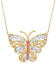 "Tricolor Butterfly Filigree 17"" Pendant Necklace in 10k Gold"