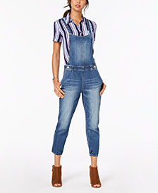 Dollhouse Juniors' Cropped Denim Overalls