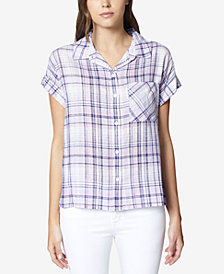 Sanctuary Mod Plaid Short-Sleeve Boyfriend Shirt