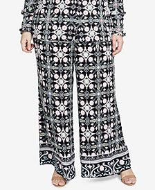RACHEL Rachel Roy Trendy Plus Size Printed Trousers