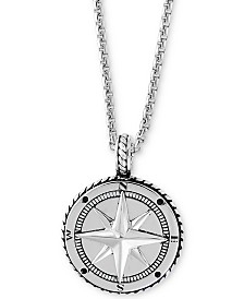 "EFFY® Men's Compass 22"" Pendant Necklace in Sterling Silver"