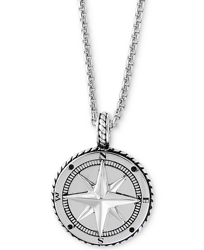 """EFFY Collection - Men's Compass 22"""" Pendant Necklace in Sterling Silver"""