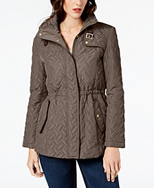Quilted Faux-Leather-Trim Anorak Coat