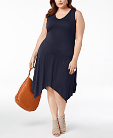 I.N.C. Plus Size Handkerchief-Hem Dress, Created for Macy's