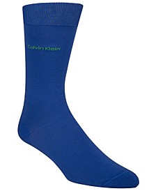 Men's Socks, Giza Cotton Flat Knit Crew