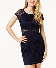 BCX Juniors' Lace Illusion Body-Con Dress