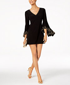 Betsy & Adam Beaded Bell-Sleeve Dress
