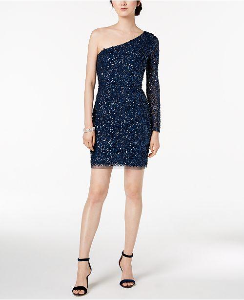 6c32c6633c3b5 Adrianna Papell One-Shoulder Sequined Mesh Dress - Dresses - Women ...