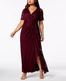 Adrianna Papell Short-Sleeve Embellished Lace Gown