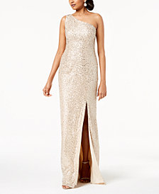 Adrianna Papell One Shoulder Sequined Gown