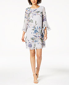 Nine West Floral-Printed Cascading-Sleeve Shift Dress