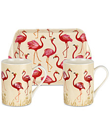 Portmeirion Sara Miller Flamingo 2-Pc. Mug Set with Tray