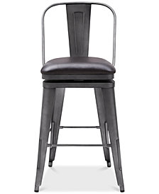Graphite Swivel Bar Stool, Quick Ship
