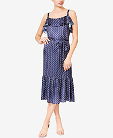 Betsey Johnson Moon-Print Ruffled Midi Dress
