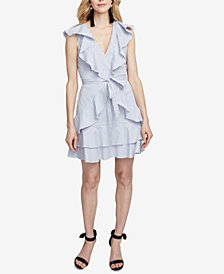 RACHEL Rachel Roy Striped Ruffled Fit & Flare Dress