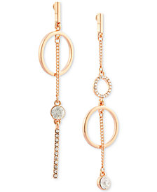 GUESS Rose Gold-Tone Crystal Pavé Mismatch Drop Earrings