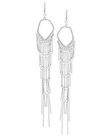 Steve Madden Silver-Tone Bar & Chain Chandelier Earrings