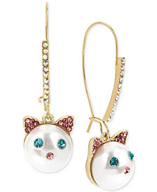 Betsey Johnson Gold-Tone Pavé & Imitation Pearl Cat Face Drop Earrings