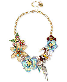 "Betsey Johnson Gold-Tone Multi-Stone Flower & Flamingo Statement Necklace, 17"" + 3"" extender"