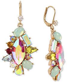 Betsey Johnson Gold-Tone Multi-Stone Cluster Drop Earrings
