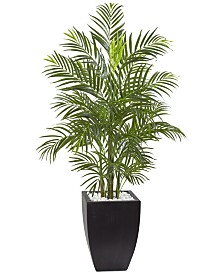 Nearly Natural 4.5' Areca Palm UV-Resistant Indoor/Outdoor Artificial Tree in Black-Washed Planter