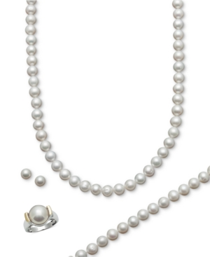 Belle de Mer Cultured Freshwater Pearl Necklace, Bracelet, Ring, and Stud Earring Set (7-1/2-8-1/2mm) in 14k Gold & Sterling Silver