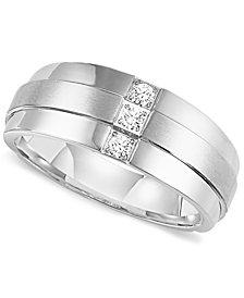 Triton Men's Three-Stone Diamond Wedding Band Ring in Stainless Steel (1/6 ct. t.w.)