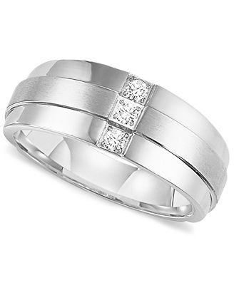 Triton Mens Three Stone Diamond Wedding Band Ring in Stainless