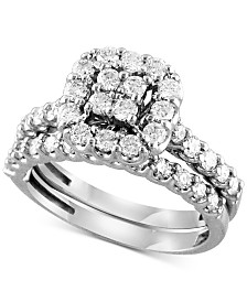 Diamond Square Halo Bridal Set (1 ct. t.w.) in 14k White Gold