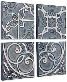 Zuo Tiles Wall Decor Blue, Set of 4