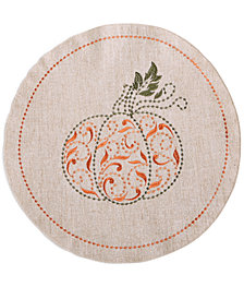 """CLOSEOUT! Lenox French Perle Pumpkin 15""""round Placemat"""