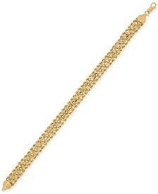 Rope & Circle Link Bracelet in 14k Gold